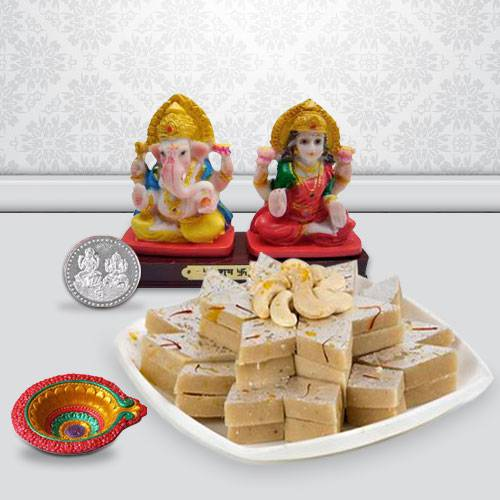 Ganesh Lakshmi with Kaju Kesar Katli from Haldiram