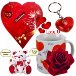 Lovely Valentine Hamper of Heart Shaped Keyring, Love Mug, Singing Teddy and chocolates