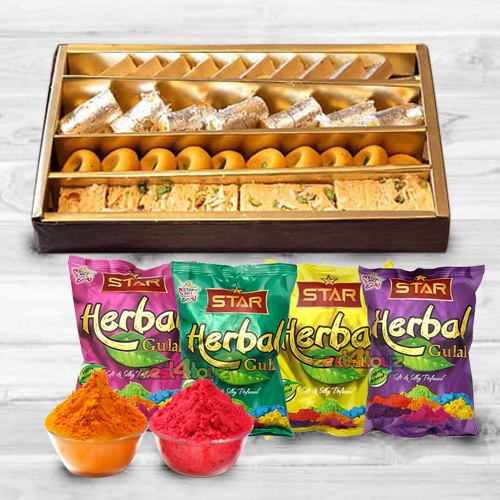 Assorted Sweets from Haldirams with Special Pack of Herbal and Scented Colors Combo