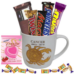 Mouth-watering Chocolates and Mug with Cancer Zodiac Sign Print Gift Combo
