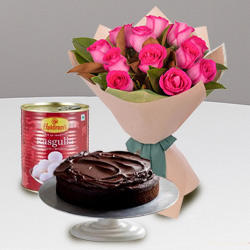 Deluxe Red Roses and Haldiram Rasgulla with Eggless Cake