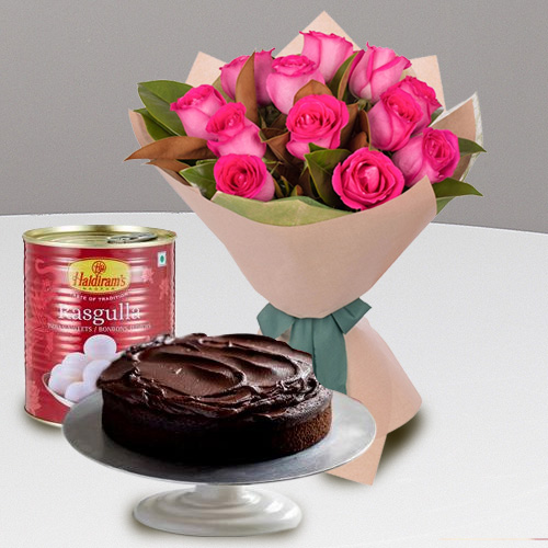 Send Combo Gift of Red Roses with Haldiram Rasgulla n Eggless Cake Online