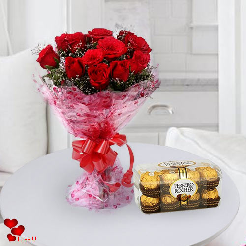 V-Day Gift of Red Roses Bouquet with Ferrero Rocher Online