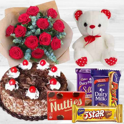 Deliver Red Roses Bouquet with Cake, Assorted Cadbury N a Teddy Online