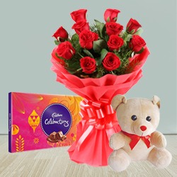 Send Excellent Roses, Cadburys Chocolate and Teddy Bear combo offer to Thane