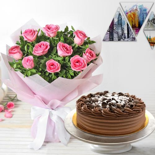 Buy Pink Roses Bouquet n Eggless Chocolate Cake Online