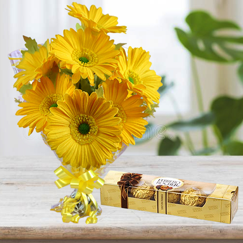 Yellow Gerberas Bunch with Ferrero Rocher Chocolates