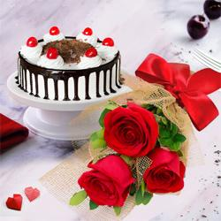 Pristine 3 Red Roses with 1/2 Kg Black Forest Cake