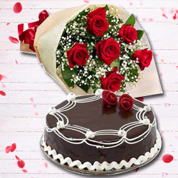Stimulating 6 Red Roses Bunch and 1 Lb Chocolate Cake