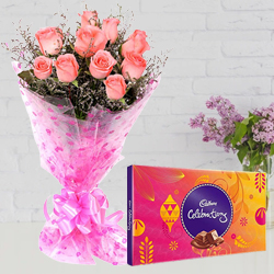 Gaudy Pink Roses Hand Bunch with Cadbury