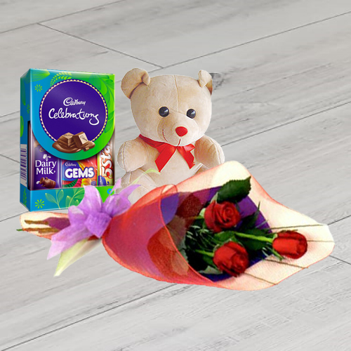 Robust Red Rose Hand Bunch, Cute Teddy and Cadbury Assortment Mini Pack