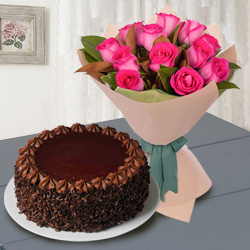Radiant Red Roses with Chocolate Cake