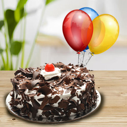 Tasty 1 Kg Black Forest Cake with 5 Balloons
