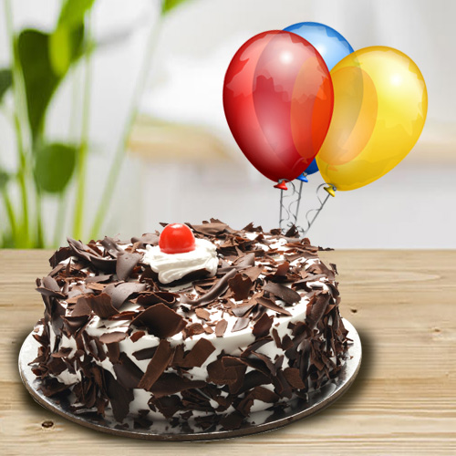 Online Combo of Black Forest Cake N Balloons