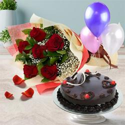 Delicious Truffle Cake with Red Roses Bunch and Balloons