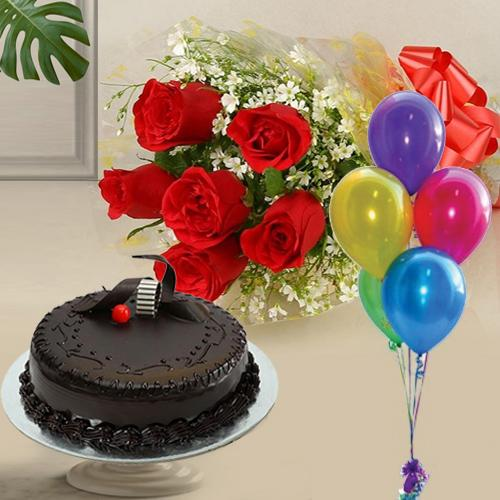Red Roses Bunch with Balloons N Chocolate Cake
