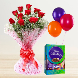 Magical Celebration with Red Roses Bouquet, Balloons and Cadbury Mini Pack