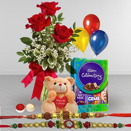 Pure Appreciation Combo Gift Set with Free 2 Rakhis and Roli Tilak Chawal