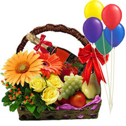Signature Fresh Fruits and Floral Arrangements Basket