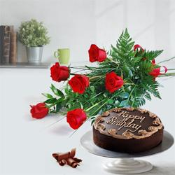 Expressive Red Roses Bouquet with Chocol