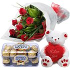 Classic Roses with Bear and Chocolates