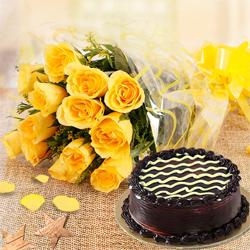 Yellow Rose Bunch with Chocolate Cake