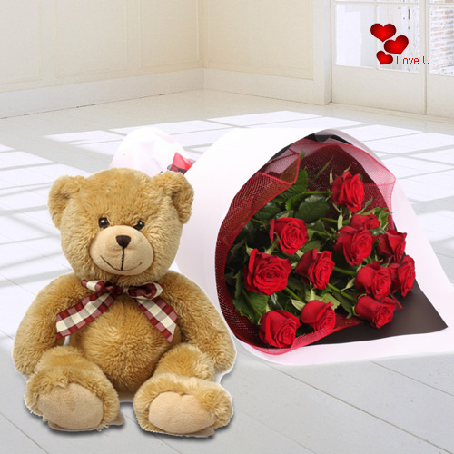 Gift Online Tedy N Red Roses for V-Day