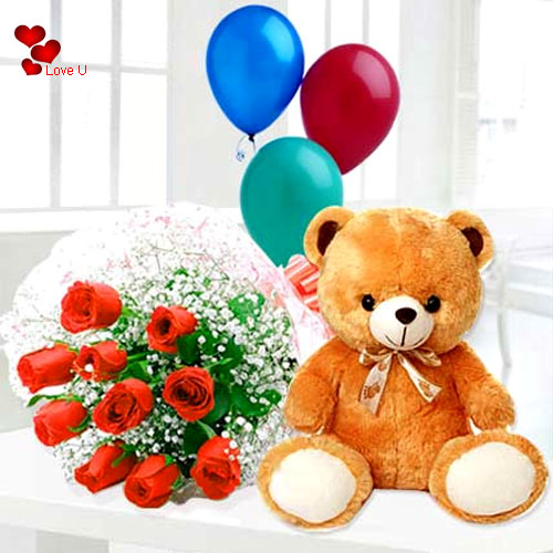 Send Gift of Red Roses, Teddy n Balloons for Rose Day