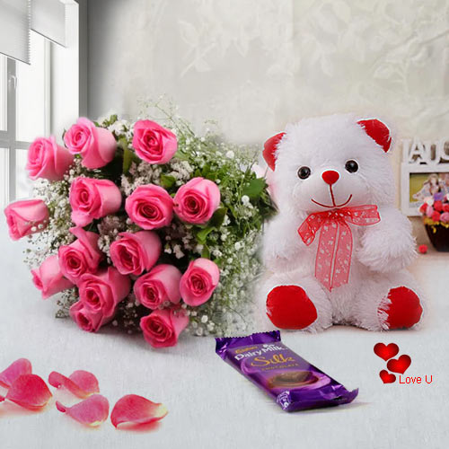 Shop Pink Roses Bouquet, Teddy N Chocolates Online