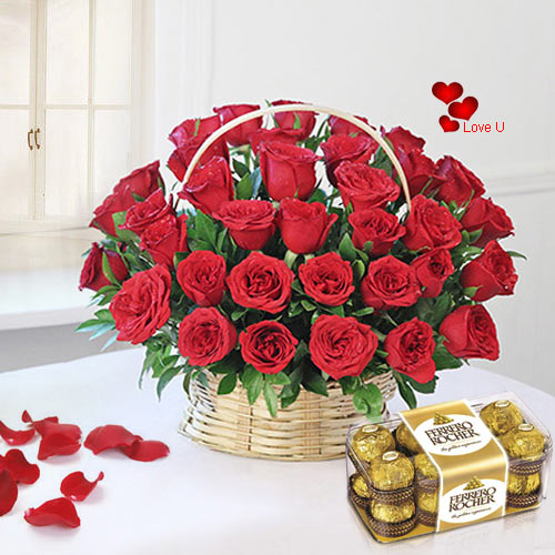 V-Day Combo of Ferrero Rocher N Red Roses Basket