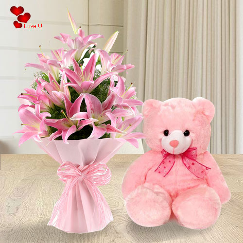 Bouquet of Pink Lilies with Teddy for Teddy Day