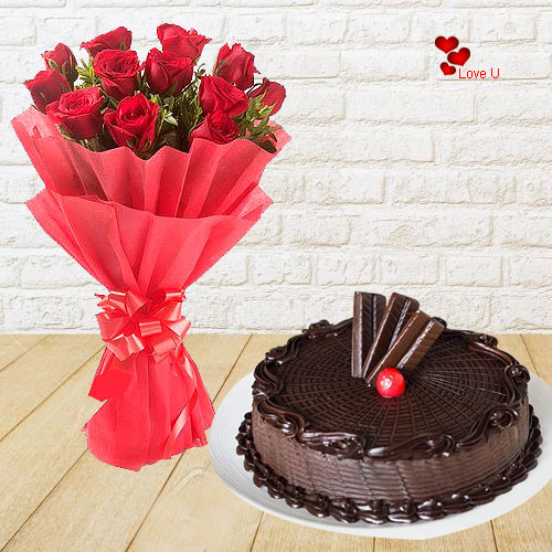 Bouquet of Red Roses N Chocolate Cake for V-Day