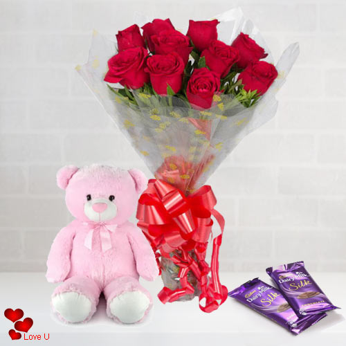 V-Day Combo of Red Roses Bouquet, Teddy N Chocolates