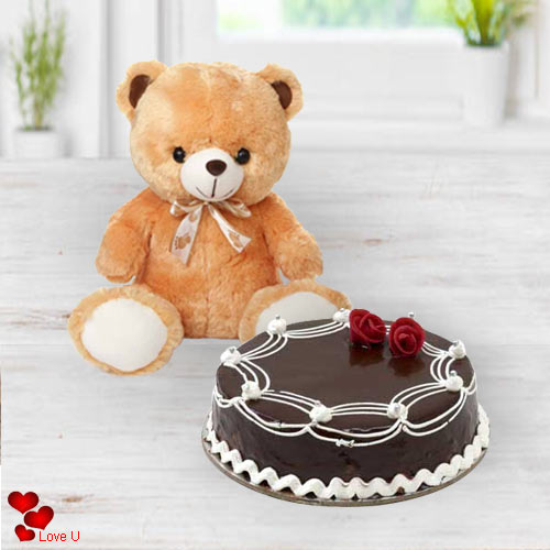 Online Combo Gift of Teddy with Chocolate Cake