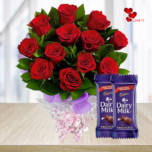 Send Online Combo of Red Roses with Dairy Milk Chocolates