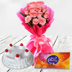 Pleasing Surprise Pink Rose Arrangement, Cake and Cadbury Celebration