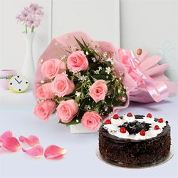 Sensational Cake and Pink Rose Bouquet