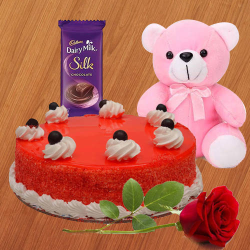 Gift Online Red Velvet Cake with Dairy Milk Silk, Teddy N Red Rose
