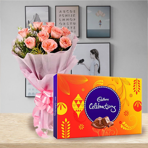 Deliver Pink Roses N Cadbury Celebration Online