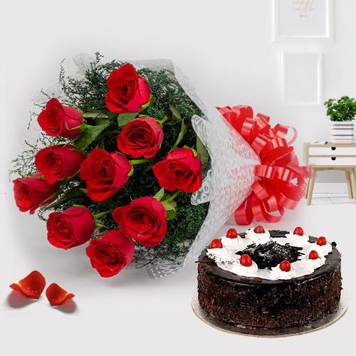 Buy Online Red Roses with Black Forest Cake