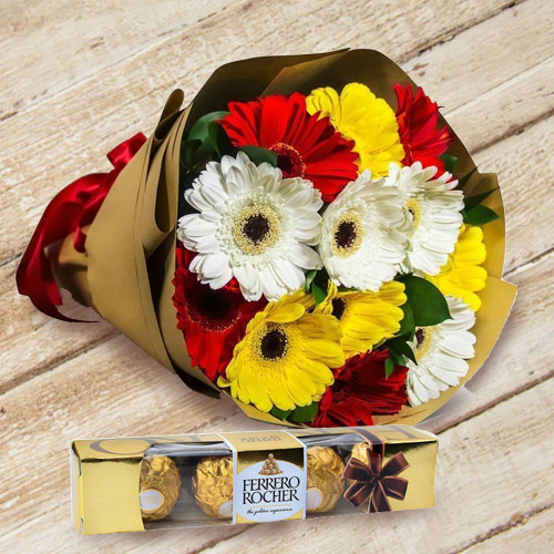 Deliver Gerbera Bouquet with Ferrero Rocher Chocolate