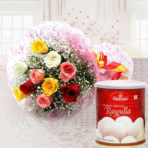 Deliver Combo of Mixed Roses and Haldiram Rasgulla Online