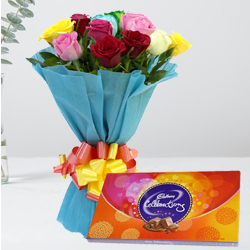 Beautiful Birthday Combo of Mixed Roses with Cadbury Celebration