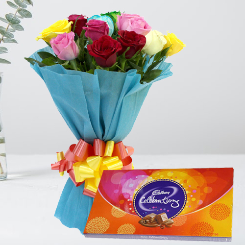 Online Order Mixed Roses with Cadbury Cellebration Chocolate