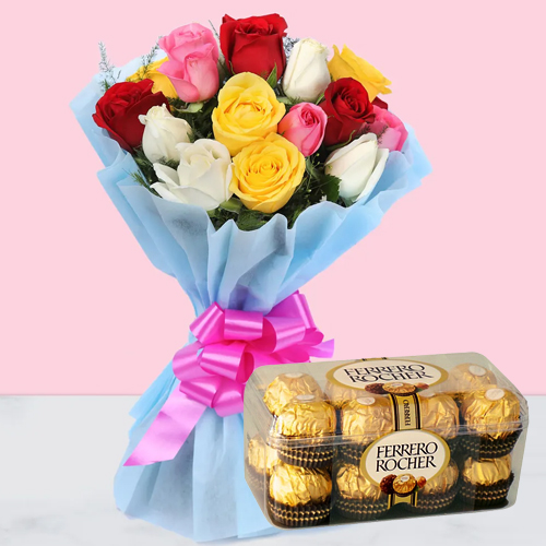 Blooming Birth-Day Mixed Roses with Enjoyable Ferrero Rocher