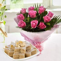 Blushing B Day Pink Roses with Smooth Kaju Kalti