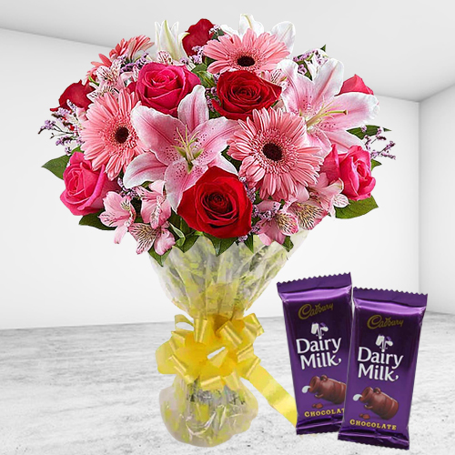 Order Online Cadbury Celebration and Mixed Flower Bouquet