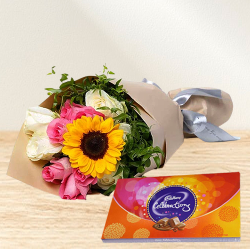 Send Cadbury Celebration and Mixed Flower Bouquet Online