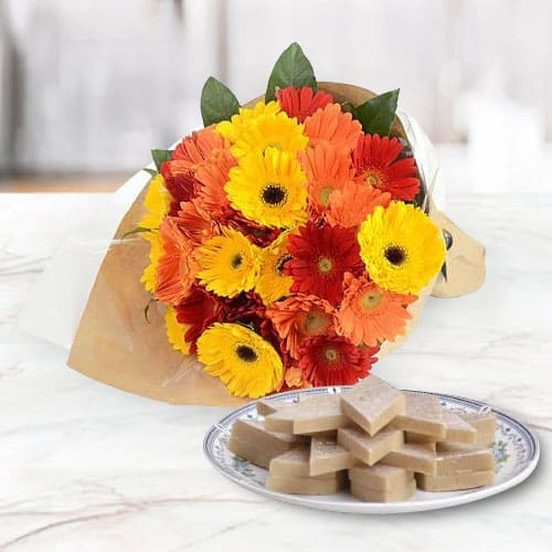 Online Gift of Kaju Katli with Mixed Gerberas Arrangement