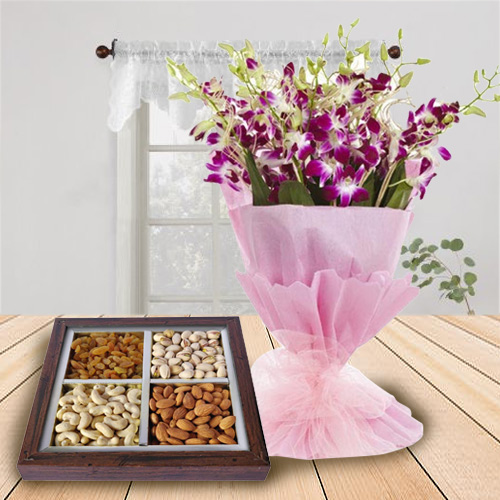 Deliver Orchids Bouquet and Dry Fruits Online